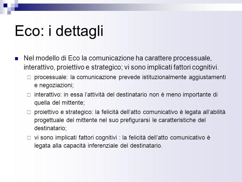 Eco: i dettagli Nel modello di Eco la comunicazione ha carattere processuale, interattivo, proiettivo e strategico; vi sono implicati fattori cognitivi.