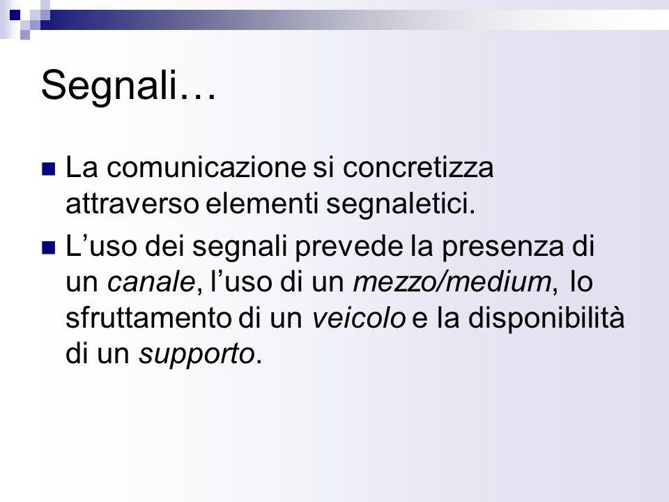 Segnali… La comunicazione si concretizza attraverso elementi segnaletici.