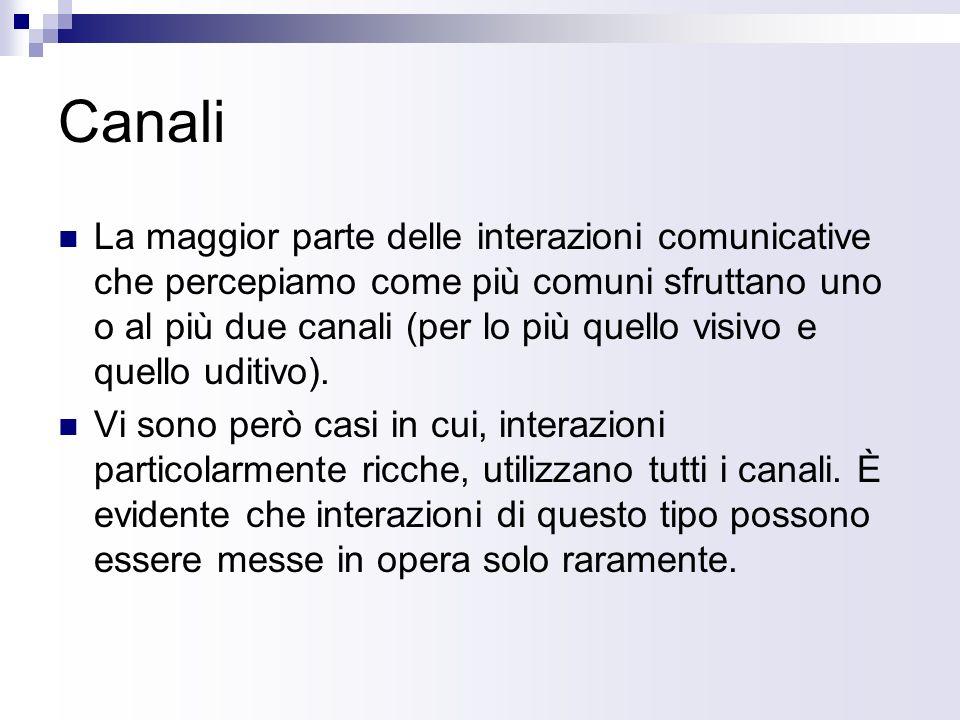 Canali La maggior parte delle interazioni comunicative che percepiamo come più comuni sfruttano uno o al più due canali (per lo più quello visivo e quello uditivo).