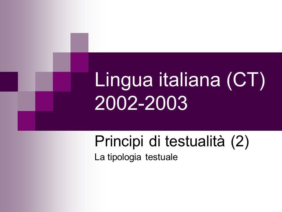 Lingua italiana (CT) 2002-2003 Principi di testualità (2) La tipologia testuale