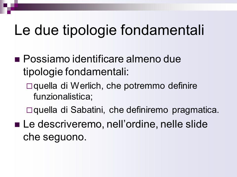 Le due tipologie fondamentali Possiamo identificare almeno due tipologie fondamentali: quella di Werlich, che potremmo definire funzionalistica; quell