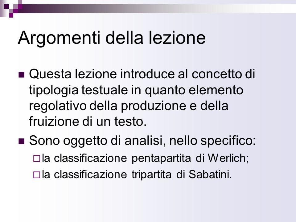 Argomenti della lezione Questa lezione introduce al concetto di tipologia testuale in quanto elemento regolativo della produzione e della fruizione di