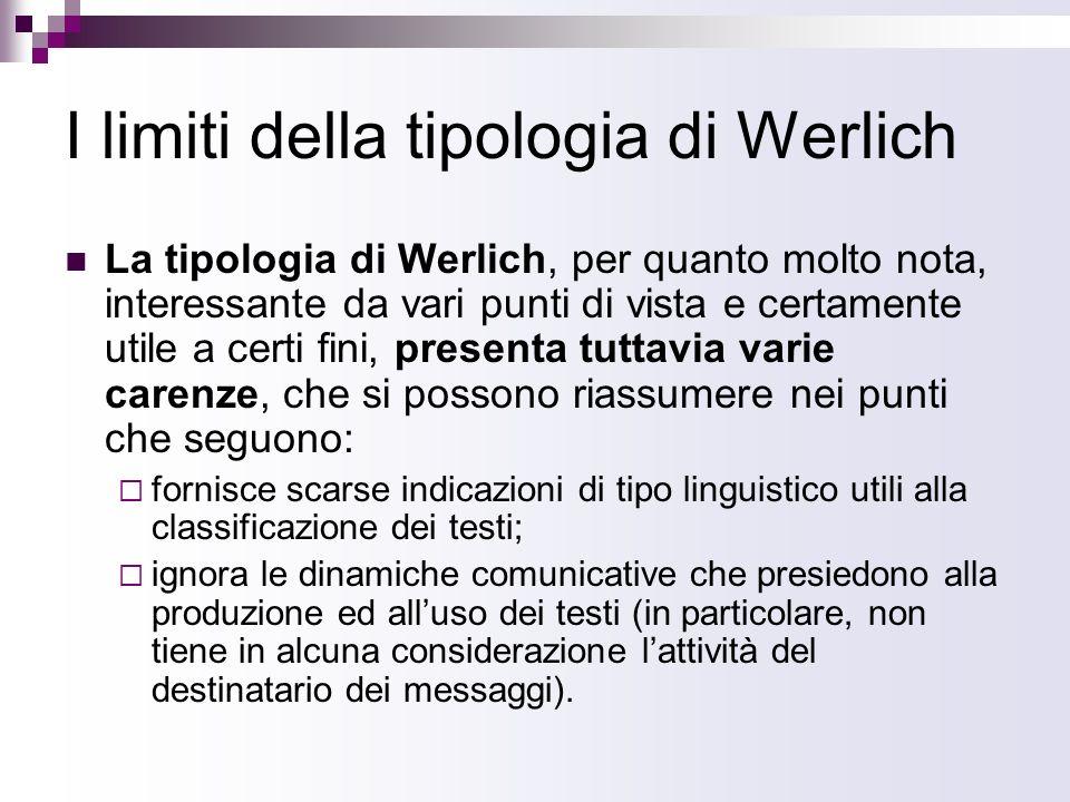 I limiti della tipologia di Werlich La tipologia di Werlich, per quanto molto nota, interessante da vari punti di vista e certamente utile a certi fin
