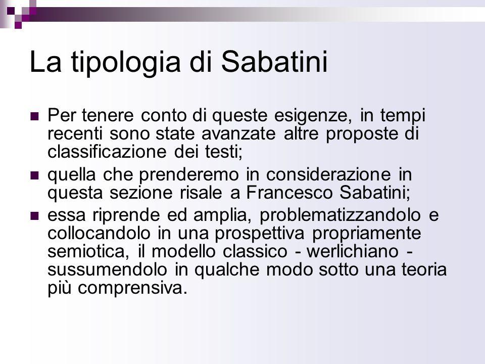 La tipologia di Sabatini Per tenere conto di queste esigenze, in tempi recenti sono state avanzate altre proposte di classificazione dei testi; quella