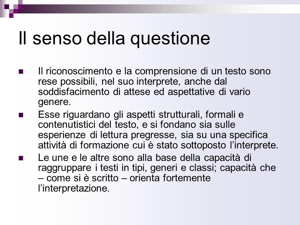 Il senso della questione Il riconoscimento e la comprensione di un testo sono rese possibili, nel suo interprete, anche dal soddisfacimento di attese