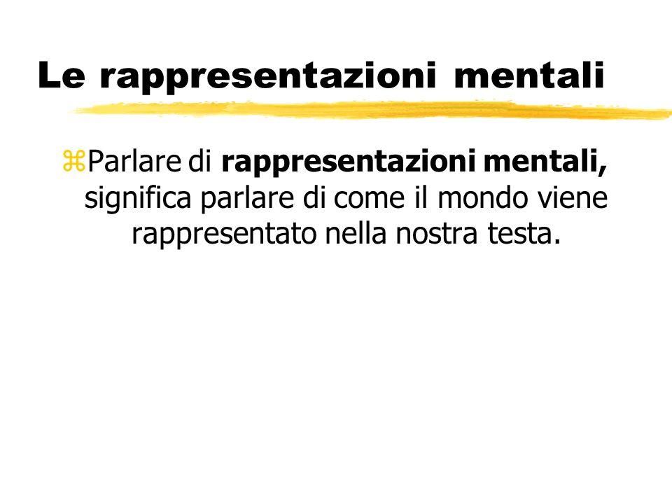 Le rappresentazioni mentali zParlare di rappresentazioni mentali, significa parlare di come il mondo viene rappresentato nella nostra testa.