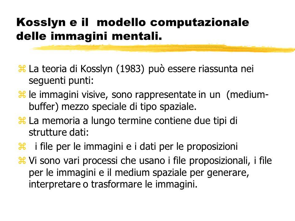 Kosslyn e il modello computazionale delle immagini mentali. zLa teoria di Kosslyn (1983) può essere riassunta nei seguenti punti: zle immagini visive,