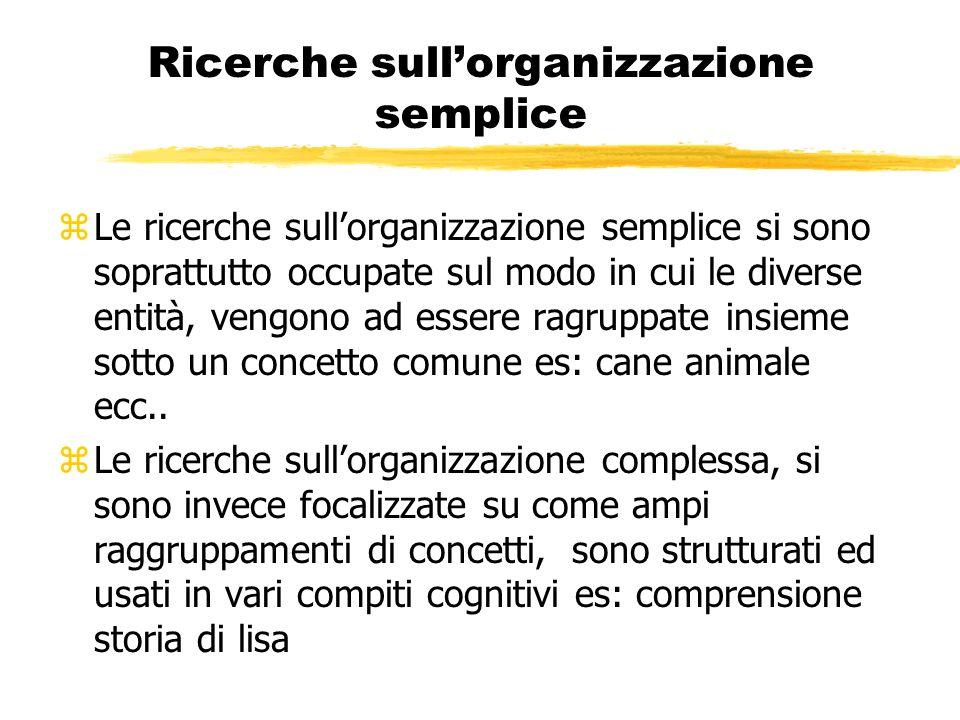 Ricerche sullorganizzazione semplice zLe ricerche sullorganizzazione semplice si sono soprattutto occupate sul modo in cui le diverse entità, vengono