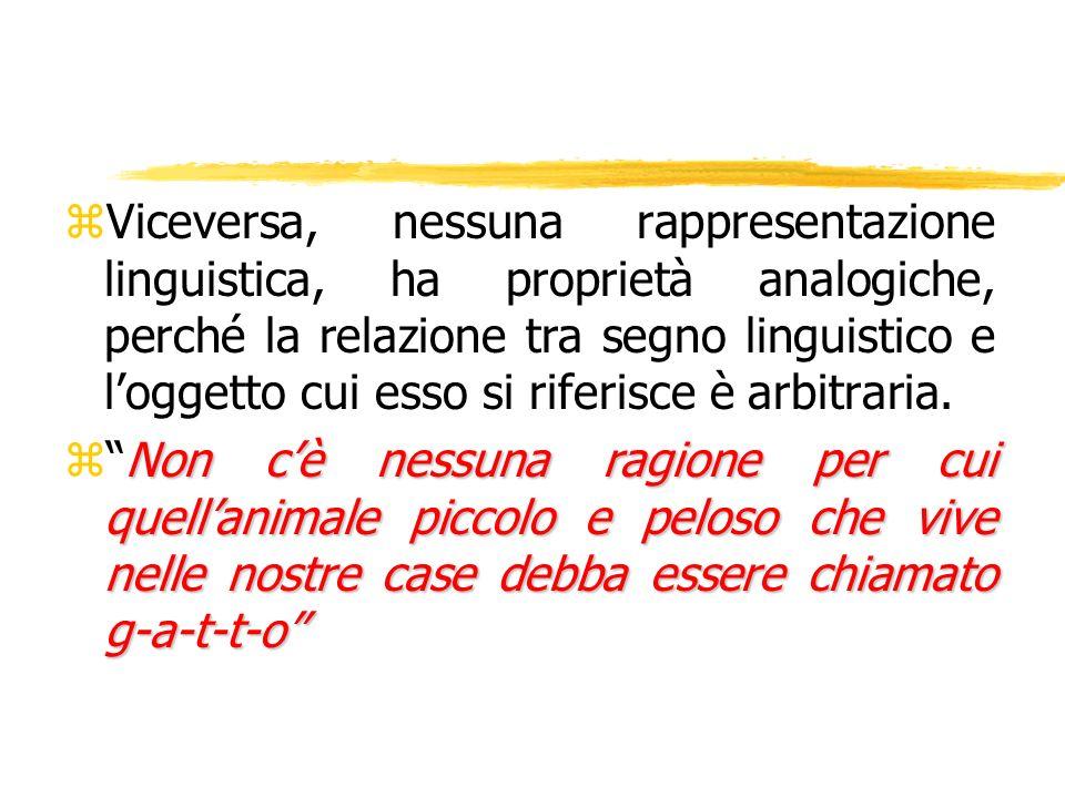 zViceversa, nessuna rappresentazione linguistica, ha proprietà analogiche, perché la relazione tra segno linguistico e loggetto cui esso si riferisce