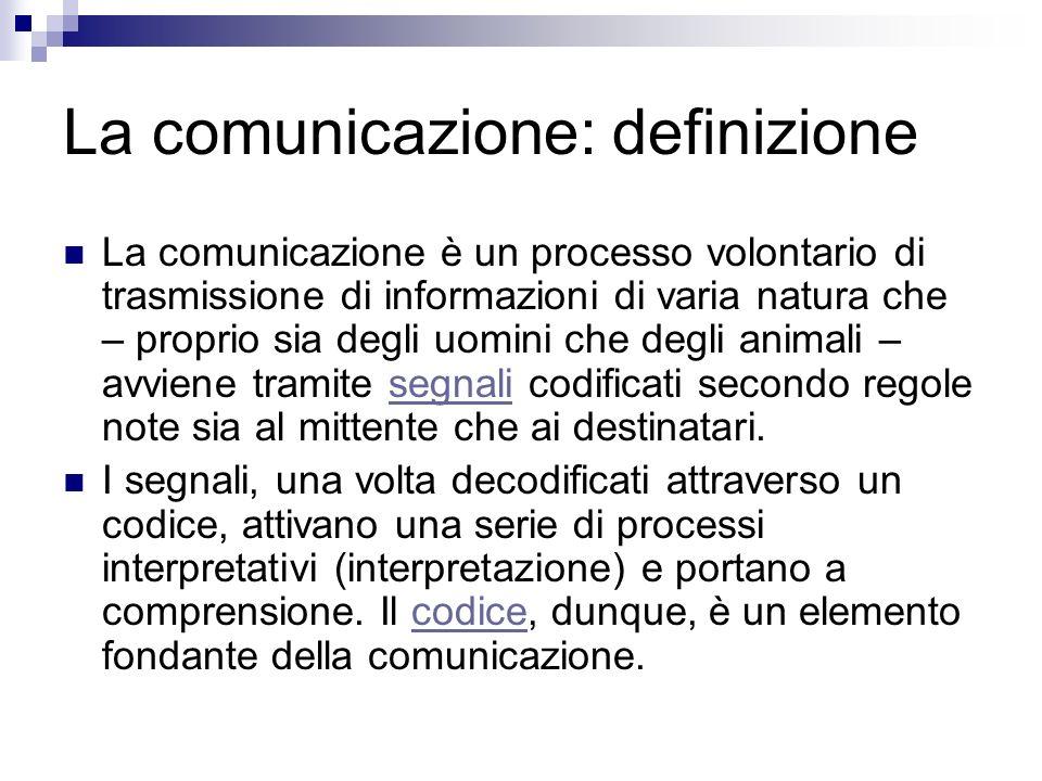 La comunicazione: definizione La comunicazione è un processo volontario di trasmissione di informazioni di varia natura che – proprio sia degli uomini