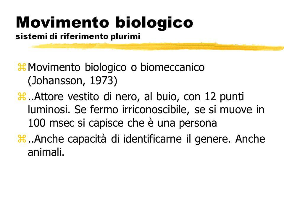 Movimento biologico sistemi di riferimento plurimi zMovimento biologico o biomeccanico (Johansson, 1973) z..Attore vestito di nero, al buio, con 12 pu