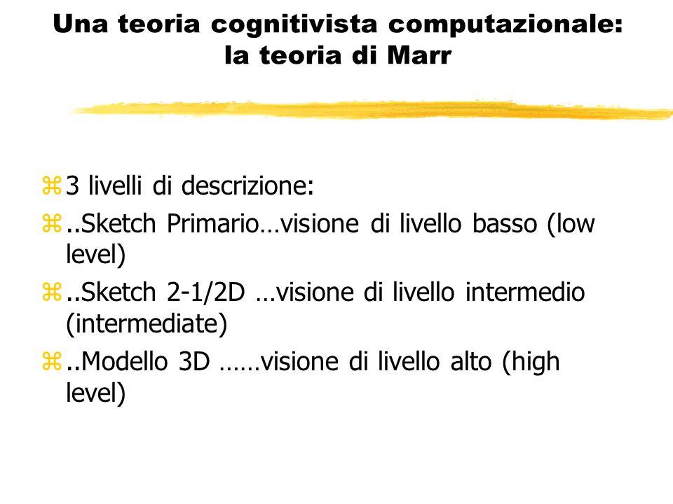 Una teoria cognitivista computazionale: la teoria di Marr z3 livelli di descrizione: z..Sketch Primario…visione di livello basso (low level) z..Sketch