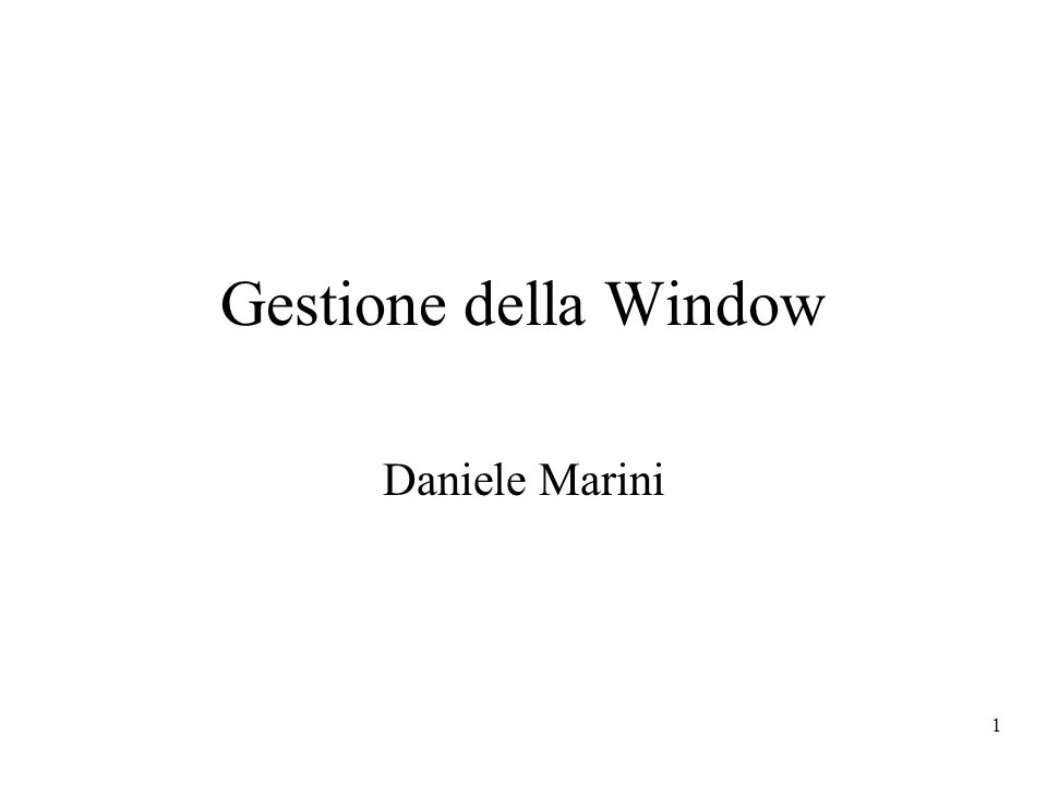 1 Gestione della Window Daniele Marini
