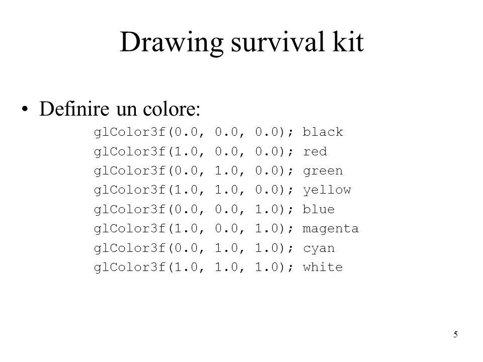 5 Drawing survival kit Definire un colore: glColor3f(0.0, 0.0, 0.0); black glColor3f(1.0, 0.0, 0.0); red glColor3f(0.0, 1.0, 0.0); green glColor3f(1.0, 1.0, 0.0); yellow glColor3f(0.0, 0.0, 1.0); blue glColor3f(1.0, 0.0, 1.0); magenta glColor3f(0.0, 1.0, 1.0); cyan glColor3f(1.0, 1.0, 1.0); white