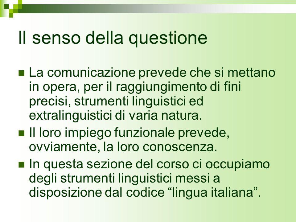 Il senso della questione La comunicazione prevede che si mettano in opera, per il raggiungimento di fini precisi, strumenti linguistici ed extralingui
