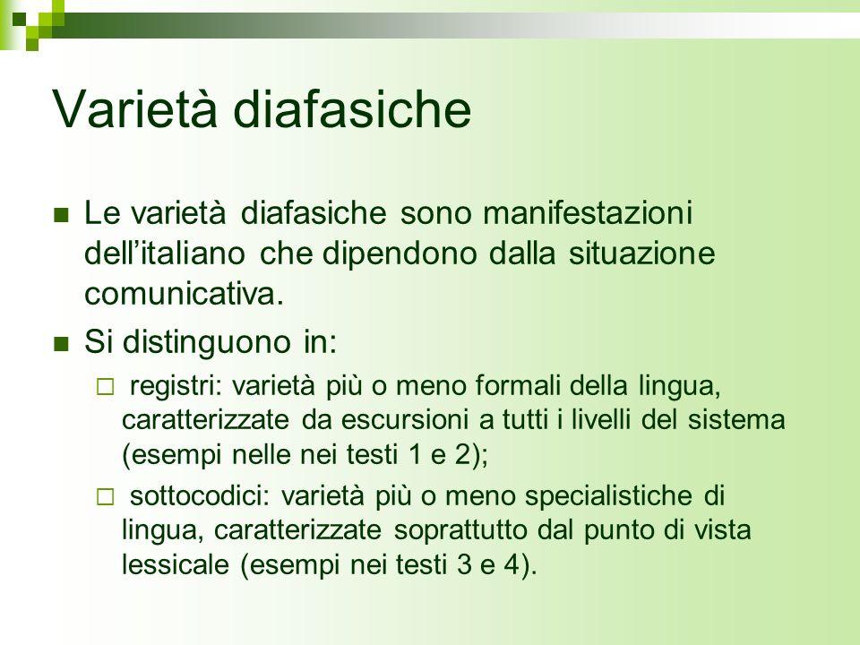 Registri Un registro è in un certo senso una varietà completa della lingua, nel senso che implica sempre scelte a livello lessicale, sintattico, morfologico, fonologico ed anche testuale.