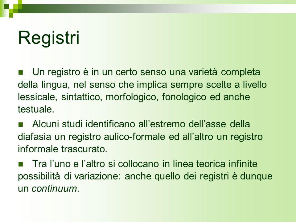 Registri Un registro è in un certo senso una varietà completa della lingua, nel senso che implica sempre scelte a livello lessicale, sintattico, morfo