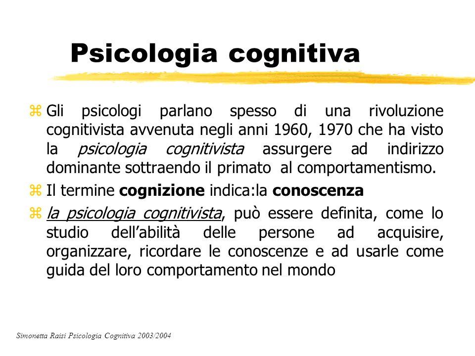 Psicologia cognitiva zGli psicologi parlano spesso di una rivoluzione cognitivista avvenuta negli anni 1960, 1970 che ha visto la psicologia cognitivi