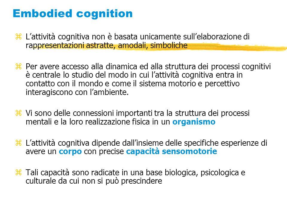 Embodied cognition zLattività cognitiva non è basata unicamente sullelaborazione di rappresentazioni astratte, amodali, simboliche zPer avere accesso