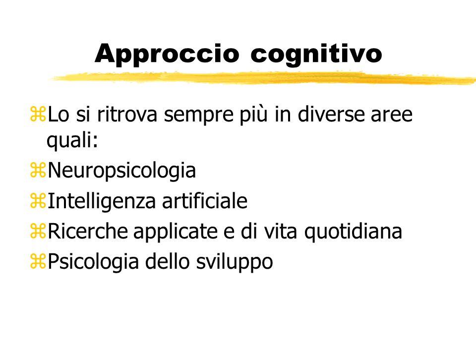 Approccio cognitivo zLo si ritrova sempre più in diverse aree quali: zNeuropsicologia zIntelligenza artificiale zRicerche applicate e di vita quotidia