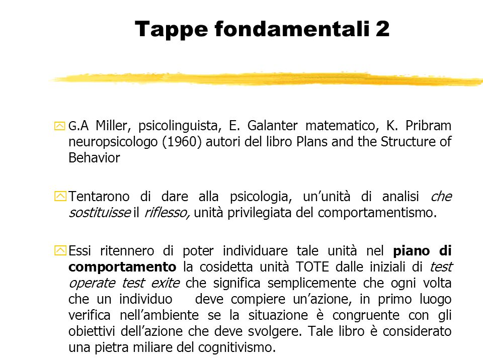 Tappe fondamentali 2 yG.A Miller, psicolinguista, E. Galanter matematico, K. Pribram neuropsicologo (1960) autori del libro Plans and the Structure of