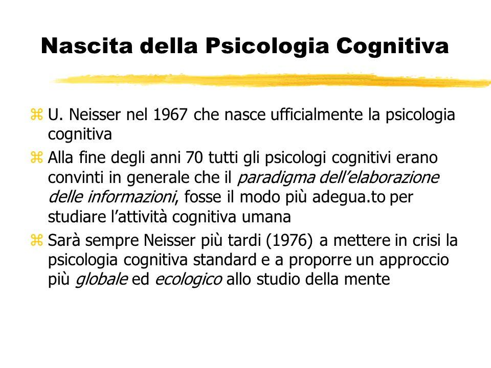 Nascita della Psicologia Cognitiva zU. Neisser nel 1967 che nasce ufficialmente la psicologia cognitiva zAlla fine degli anni 70 tutti gli psicologi c
