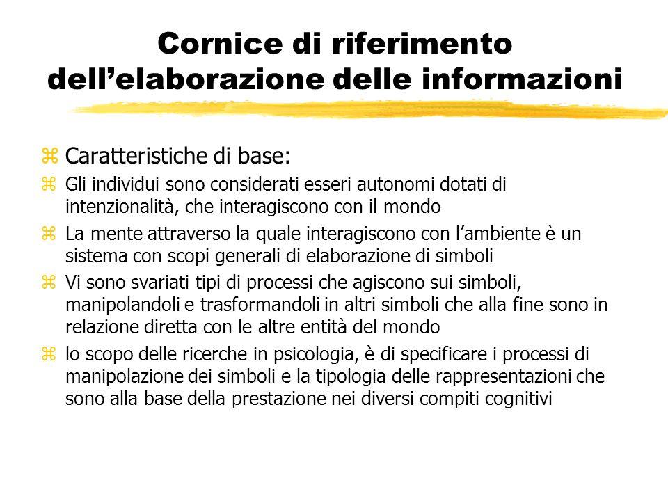 Cornice di riferimento dellelaborazione delle informazioni zCaratteristiche di base: zGli individui sono considerati esseri autonomi dotati di intenzi