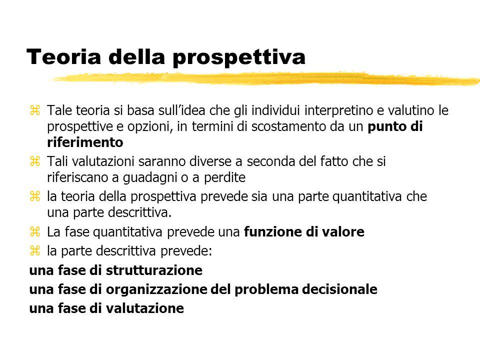 Teoria della prospettiva zTale teoria si basa sullidea che gli individui interpretino e valutino le prospettive e opzioni, in termini di scostamento d