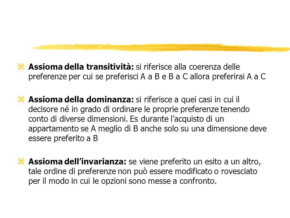 zAssioma della transitività: si riferisce alla coerenza delle preferenze per cui se preferisci A a B e B a C allora preferirai A a C zAssioma della dominanza: si riferisce a quei casi in cui il decisore né in grado di ordinare le proprie preferenze tenendo conto di diverse dimensioni.