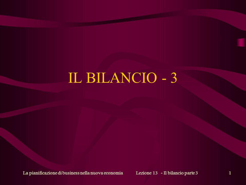 La pianificazione di business nella nuova economiaLezione 13 - Il bilancio parte 31 IL BILANCIO - 3