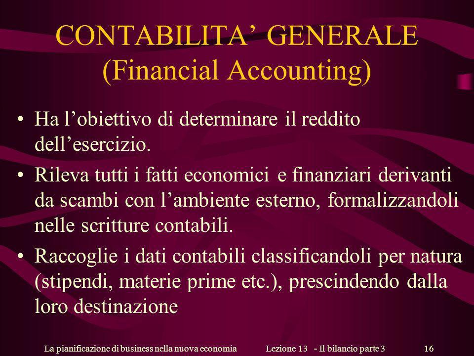 La pianificazione di business nella nuova economiaLezione 13 - Il bilancio parte 3 16 CONTABILITA GENERALE (Financial Accounting) Ha lobiettivo di determinare il reddito dellesercizio.