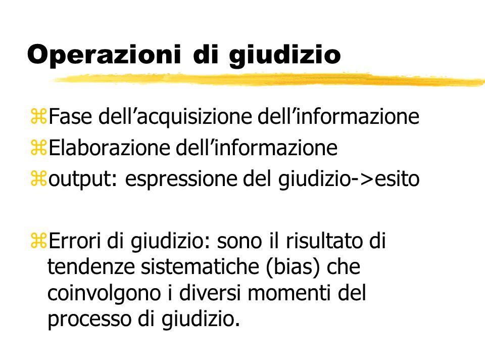 Operazioni di giudizio zFase dellacquisizione dellinformazione zElaborazione dellinformazione zoutput: espressione del giudizio->esito zErrori di giud
