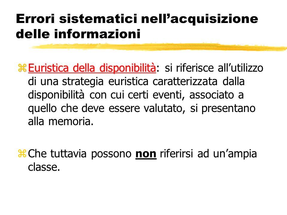 Errori sistematici nellacquisizione delle informazioni zEuristica della disponibilità zEuristica della disponibilità: si riferisce allutilizzo di una