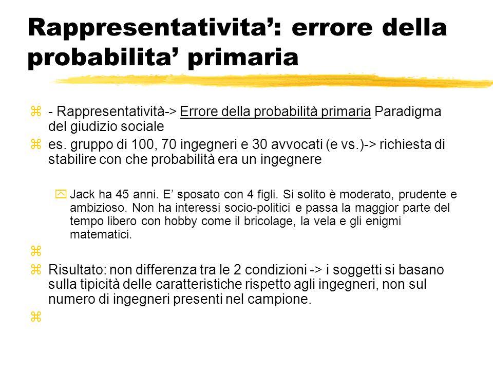 Rappresentativita: errore della probabilita primaria - Rappresentatività-> Errore della probabilità primaria Paradigma del giudizio sociale es. gruppo
