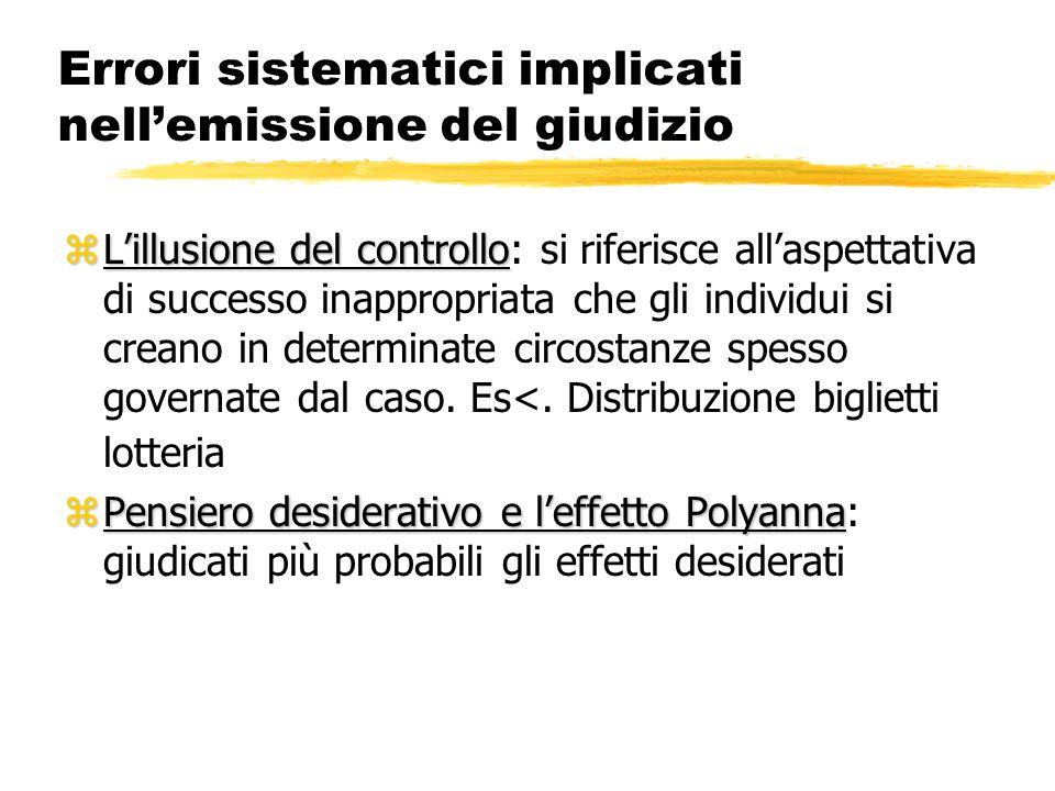 Errori sistematici implicati nellemissione del giudizio zLillusione del controllo zLillusione del controllo: si riferisce allaspettativa di successo i