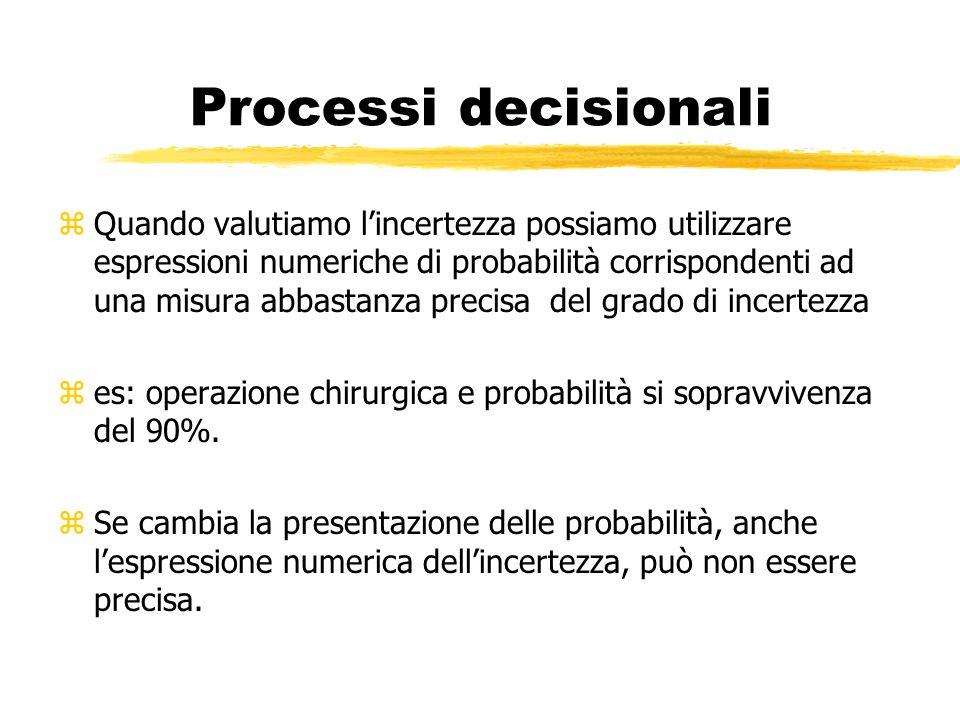 Processi decisionali zQuando valutiamo lincertezza possiamo utilizzare espressioni numeriche di probabilità corrispondenti ad una misura abbastanza pr