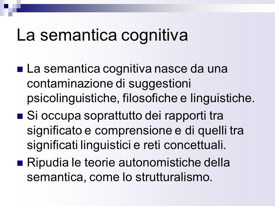 La semantica cognitiva La semantica cognitiva nasce da una contaminazione di suggestioni psicolinguistiche, filosofiche e linguistiche. Si occupa sopr