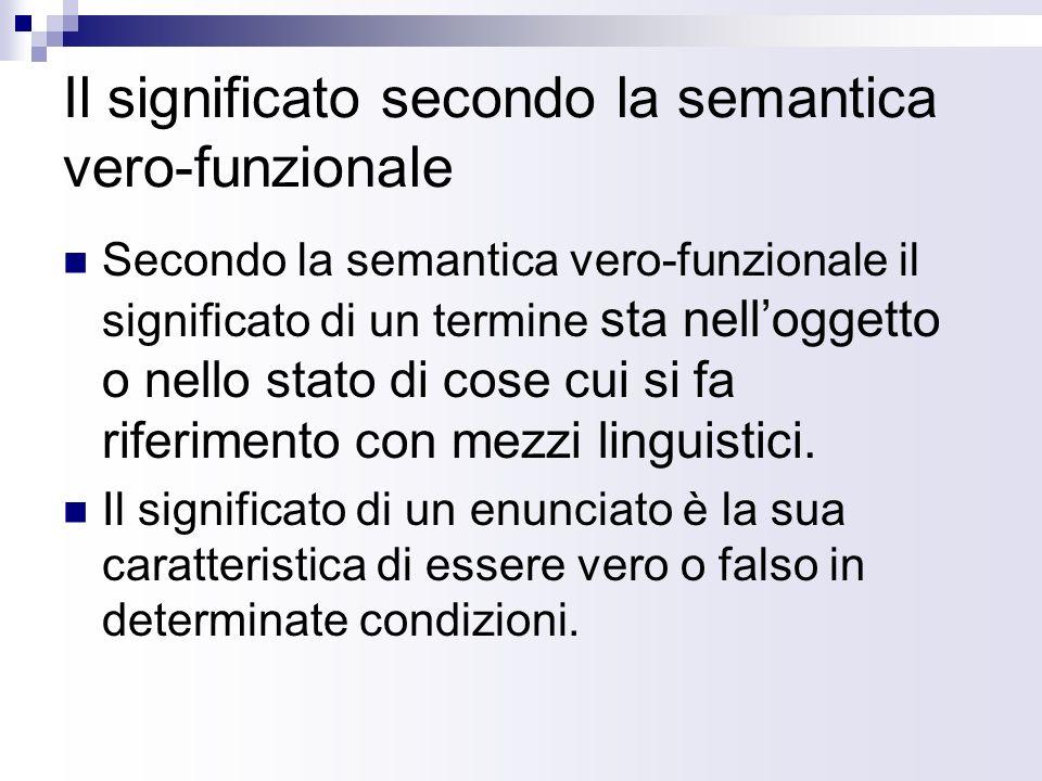 Il significato secondo la semantica vero-funzionale Secondo la semantica vero-funzionale il significato di un termine sta nelloggetto o nello stato di