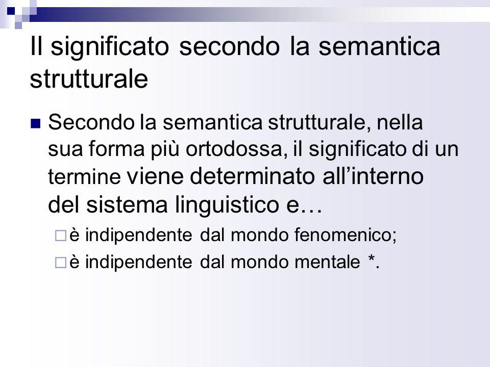 Il significato secondo la semantica strutturale Secondo la semantica strutturale, nella sua forma più ortodossa, il significato di un termine viene de