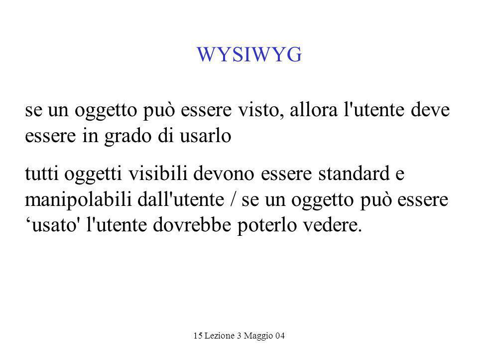 15 Lezione 3 Maggio 04 WYSIWYG se un oggetto può essere visto, allora l utente deve essere in grado di usarlo tutti oggetti visibili devono essere standard e manipolabili dall utente / se un oggetto può essere usato l utente dovrebbe poterlo vedere.