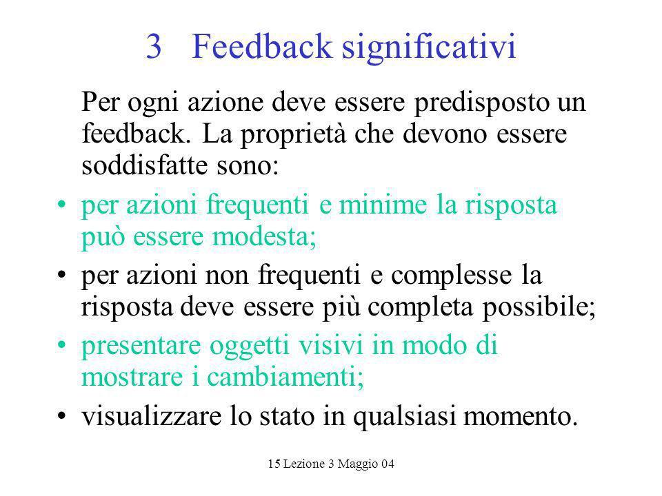 15 Lezione 3 Maggio 04 3 Feedback significativi Per ogni azione deve essere predisposto un feedback. La proprietà che devono essere soddisfatte sono: