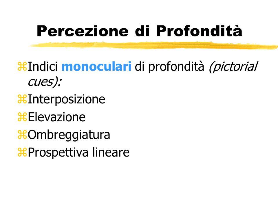 Percezione di Profondità zIndici monoculari di profondità (pictorial cues): zInterposizione zElevazione zOmbreggiatura zProspettiva lineare