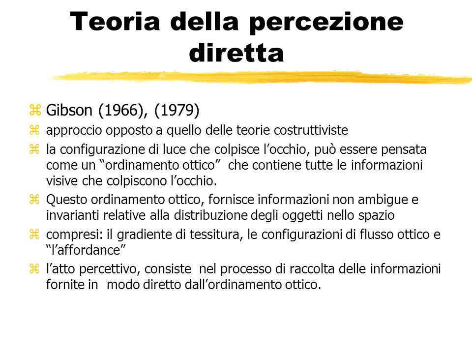 Teoria della percezione diretta zGibson (1966), (1979) zapproccio opposto a quello delle teorie costruttiviste zla configurazione di luce che colpisce