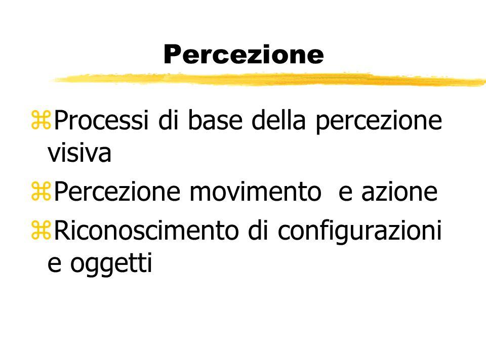 Percezione zProcessi di base della percezione visiva zPercezione movimento e azione zRiconoscimento di configurazioni e oggetti