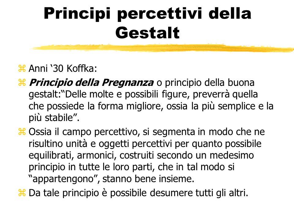 Principi percettivi della Gestalt zAnni 30 Koffka: zPrincipio della Pregnanza o principio della buona gestalt:Delle molte e possibili figure, preverrà