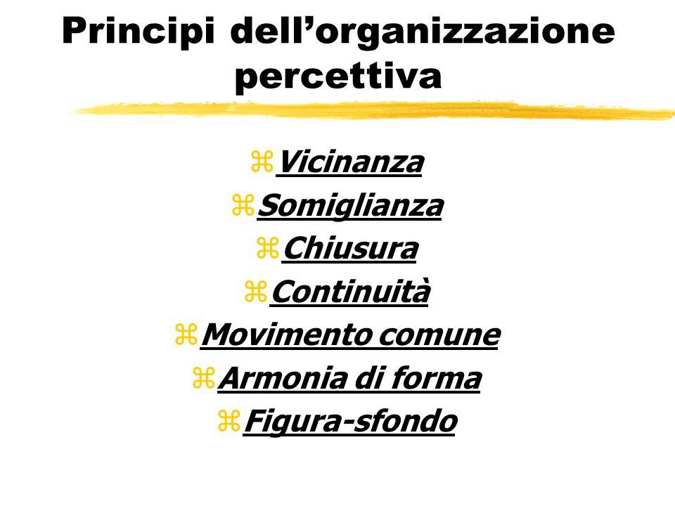 Principi dellorganizzazione percettiva zVicinanza zSomiglianza zChiusura zContinuità zMovimento comune zArmonia di forma zFigura-sfondo
