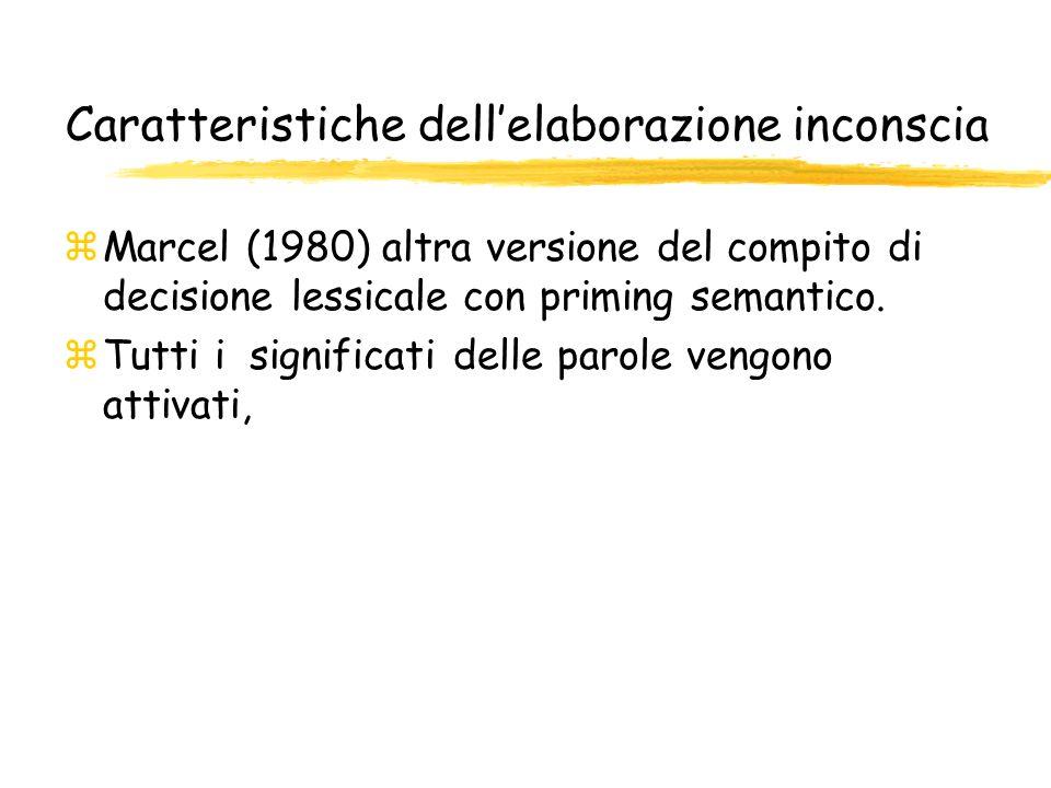 Caratteristiche dellelaborazione inconscia zMarcel (1980) altra versione del compito di decisione lessicale con priming semantico. zTutti i significat