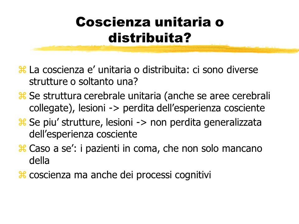 Coscienza unitaria o distribuita? zLa coscienza e unitaria o distribuita: ci sono diverse strutture o soltanto una? zSe struttura cerebrale unitaria (