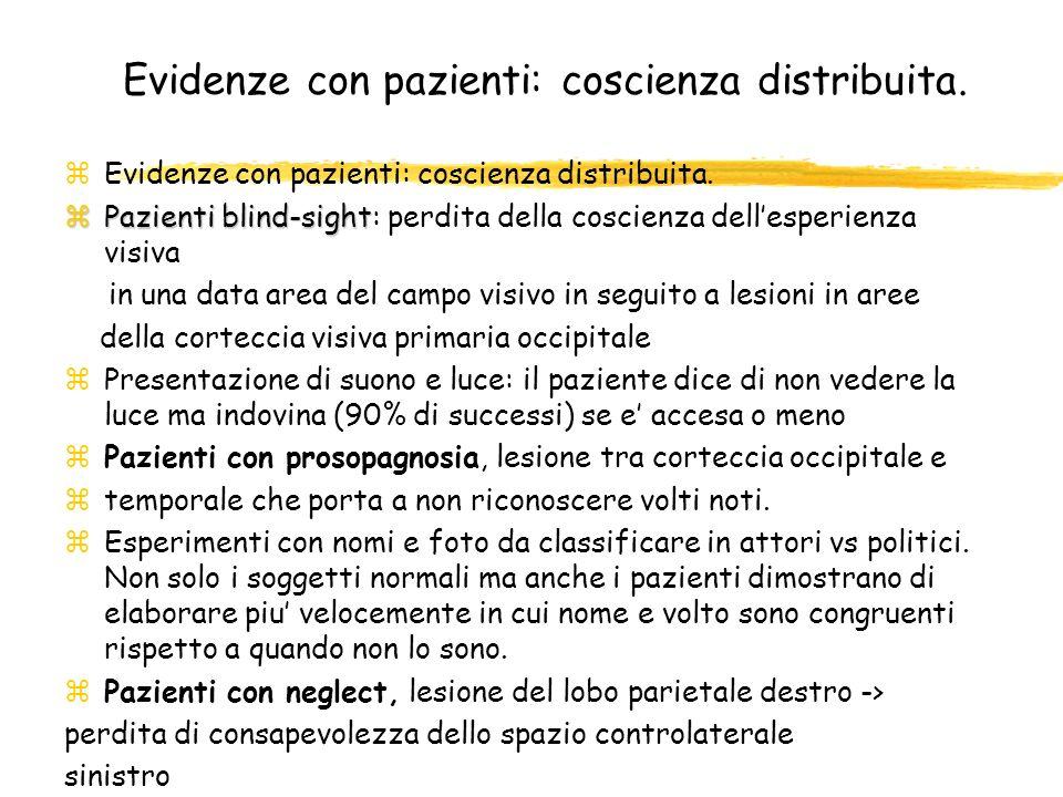 Evidenze con pazienti: coscienza distribuita. zEvidenze con pazienti: coscienza distribuita. zPazienti blind-sight zPazienti blind-sight: perdita dell