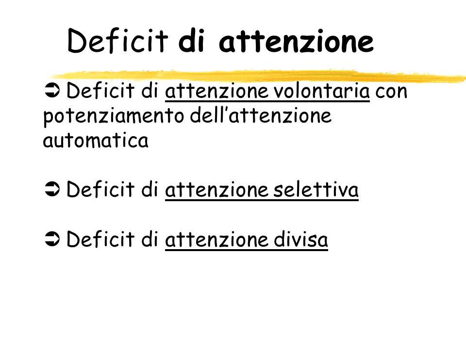 Deficit di attenzione ÜDeficit di attenzione volontaria con potenziamento dellattenzione automatica ÜDeficit di attenzione selettiva ÜDeficit di atten
